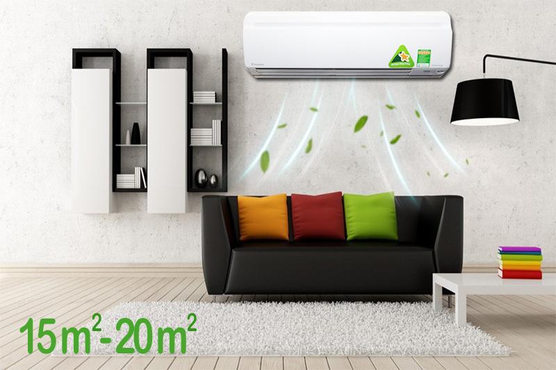 Công suất 1.5 HP của máy lạnh Daikin này khá phù hợp cho các khu vực chiếm diện tích từ 15 đến 20 mét vuông