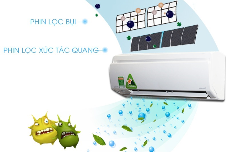 Công nghệ Apatit Titan của máy lạnh Daikin FTKS35GVMV sẽ giúp lọc sạch bụi bẩn, vi khuẩn và nấm mốc
