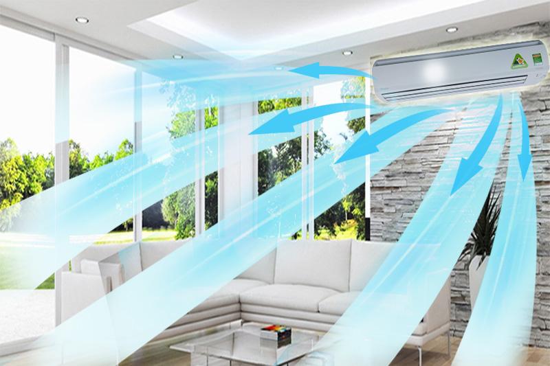 Hơi lạnh đồng đều với thiết kế luồng gió 3 chiều