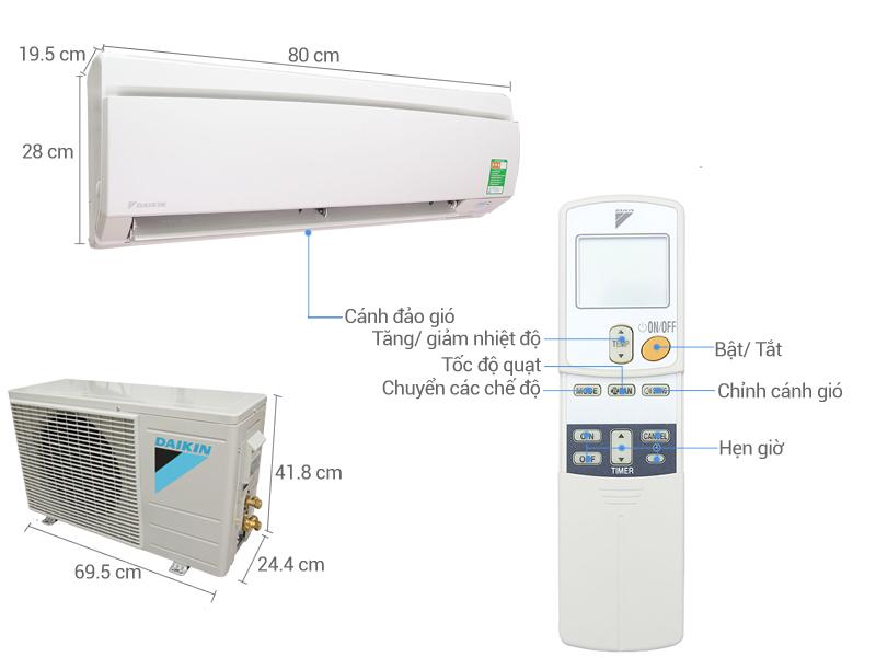 Thông số kỹ thuật Máy lạnh Daikin 1 HP FTNE25MV1V9