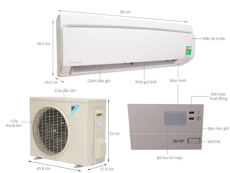 Thông số kỹ thuật Máy lạnh Daikin 1.5 HP FTNE35MV1V9