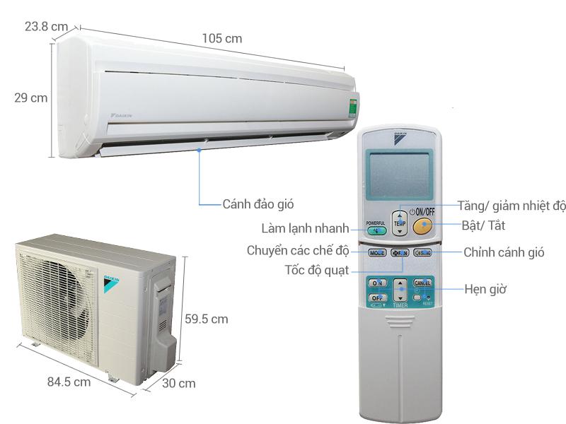 Thông số kỹ thuật Điều hòa Daikin 17150 BTU FTNE50MV1V
