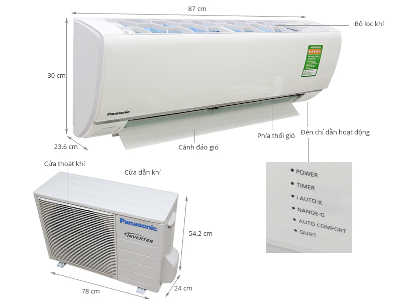 Thông số kỹ thuật Máy lạnh Panasonic 1.5 HP CU/CS-S12RKH-8