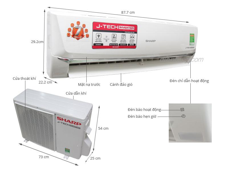 Thông số kỹ thuật Máy lạnh Sharp Inverter 1.5 HP AH-X12SEW