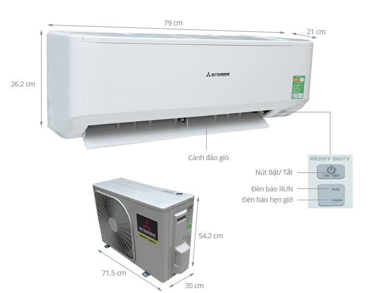 Thông số kỹ thuật Máy lạnh Mitsubishi Heavy 1.5 HP SRK12CM-5