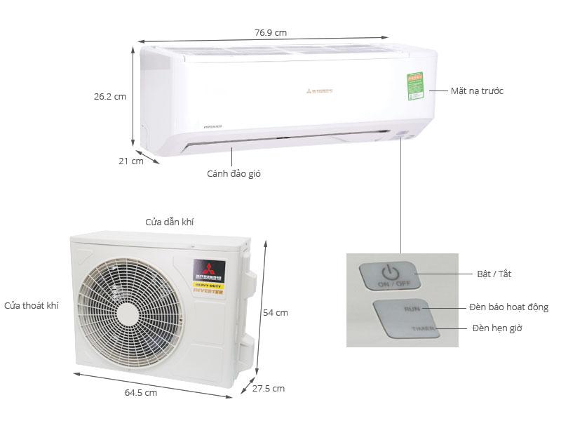 Thông số kỹ thuật Máy lạnh Mitsubishi Heavy Inverter 1 HP SRK10YN-S5