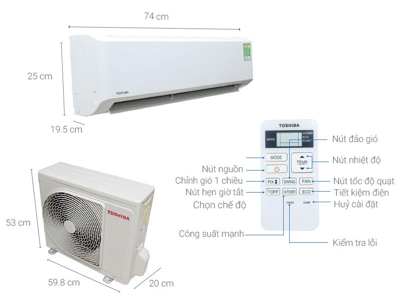 Thông số kỹ thuật Máy lạnh Toshiba 1 HP RAS-H10S3KS-V