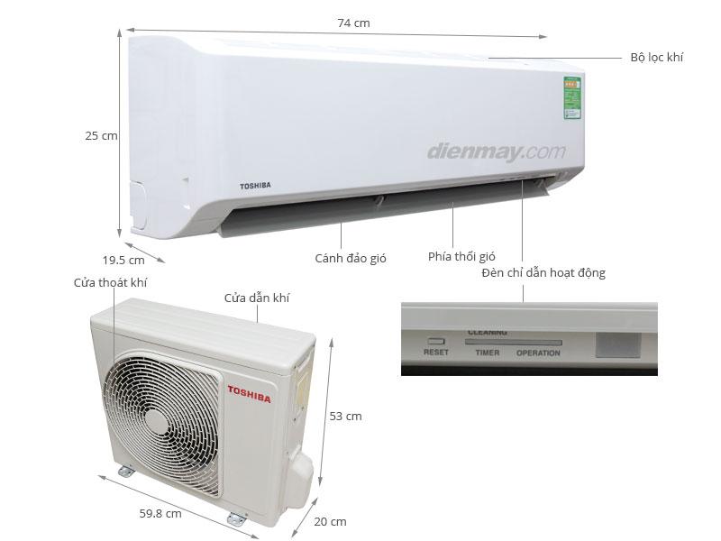Thông số kỹ thuật Máy lạnh Toshiba RAS-H10S3KS-V 1.0 HP
