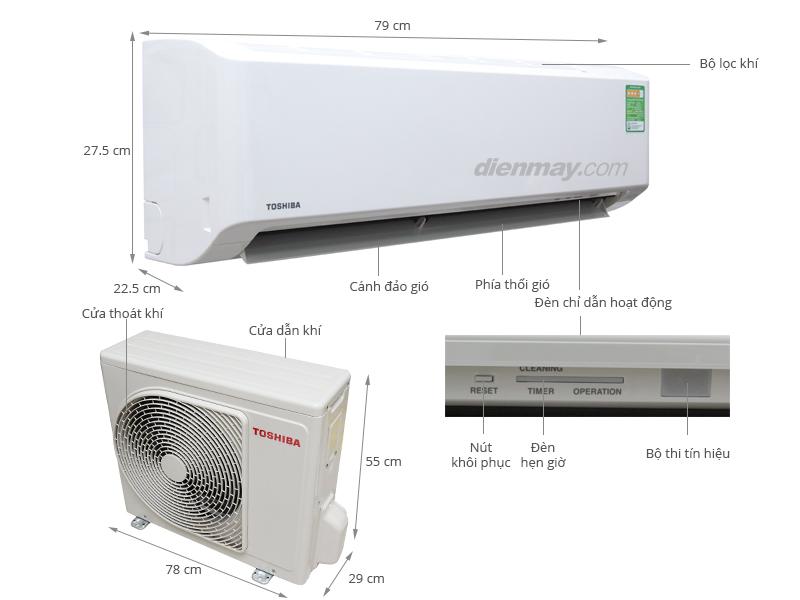 Thông số kỹ thuật Máy lạnh Toshiba 1.5 HP RAS-H13S3KS-V