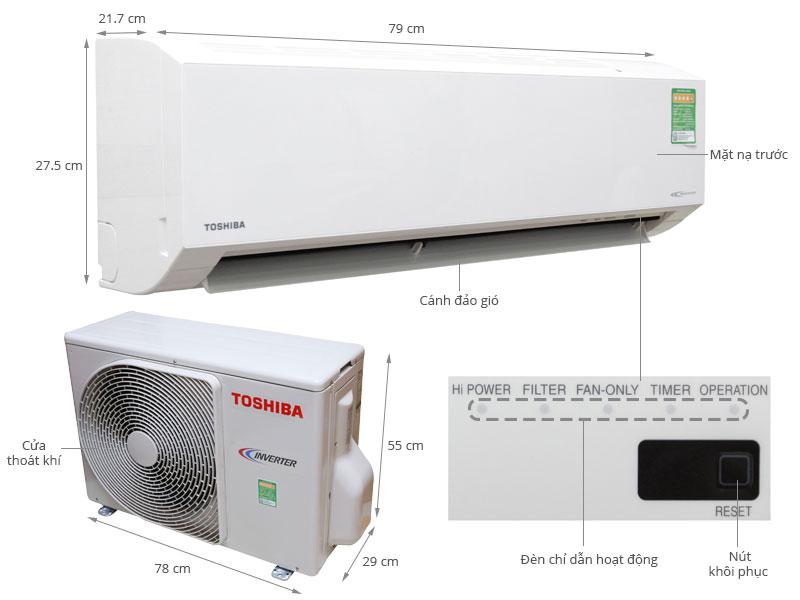 Thông số kỹ thuật Máy lạnh Toshiba 1.5 HP RAS-H13G2KCV-V