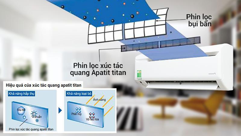 Nhờ công nghệ Apatit Titan làm sạch không khí nhờ ánh sáng mặt trời của điều hòa Daikin 9300 BTU FTV25AXV1, căn phòng của bạn sẽ không những không còn bụi bẩn