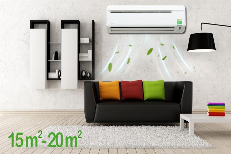 Chiếc máy lạnh Daikin này có công suất 1.5 HP, thích hợp cho các khu vực có diện tích từ 15 đến 20 mét vuông