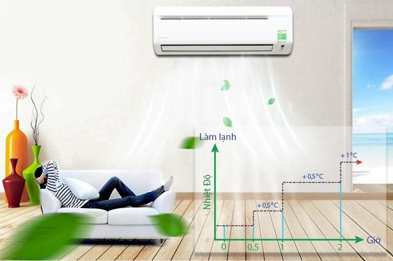 Bạn sẽ không còn lo lắng với giấc ngủ mỗi đêm nữa nhờ chế độ ngủ ngon của máy lạnh Daikin FTV35AXV1