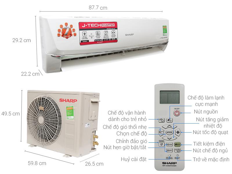 Thông số kỹ thuật Máy lạnh Sharp Inverter 1 HP AH-X9SEW