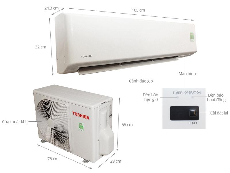 Thông số kỹ thuật Máy lạnh Toshiba 2 HP RAS-H18S3KS-V