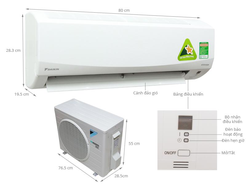 Thông số kỹ thuật Máy lạnh Daikin Inverter 1 HP FTKC25PVMV