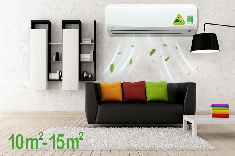 Chiếc máy lạnh Daikin này có công suất làm lạnh 1 HP, nên khá phù hợp với những căn phòng dưới 15 mét vuông diện tích