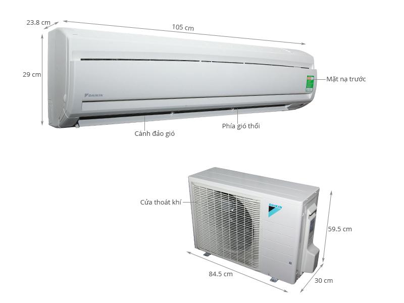 Thông số kỹ thuật Máy lạnh Daikin 2.5 HP FTNE60MV1V