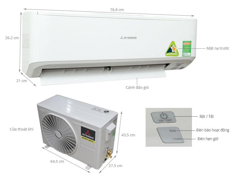 Thông số kỹ thuật Máy lạnh Mitsubishi Heavy 1 HP SRK09CRR-S5