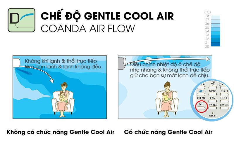 Chế độ Gentle Cool Air cung cấp một khả năng làm lạnh dễ chịu, giúp điều hòa Sharp 1.5 HP AH-A12SEW tránh thổi gió trực tiếp vào người dùng