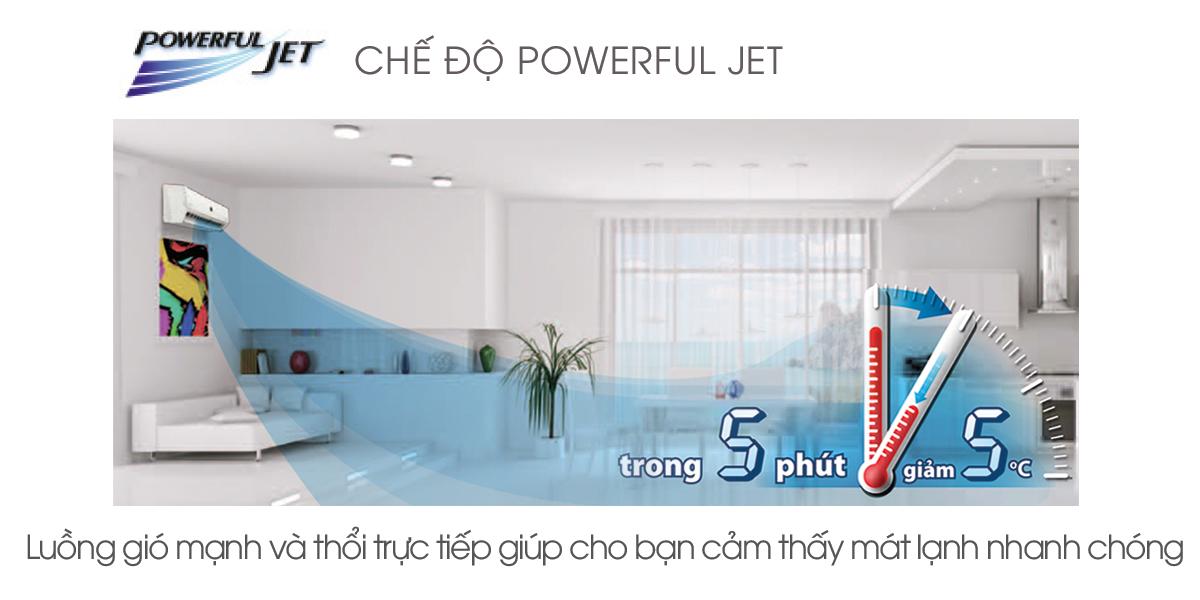 Công nghệ Powerful Jet đáp ứng nhu cầu làm lạnh nhanh chóng của cả gia đình