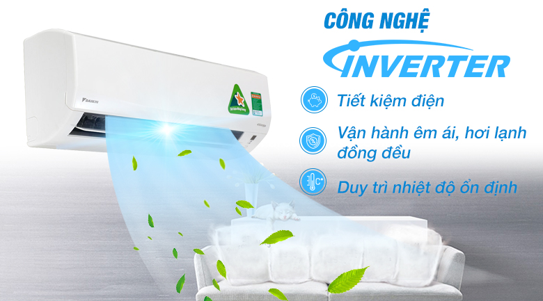 Công nghệ Inverter tiết kiệm điện - Điều hòa 2 chiều Daikin Inverter 1.5 HP FTXM35HVMV