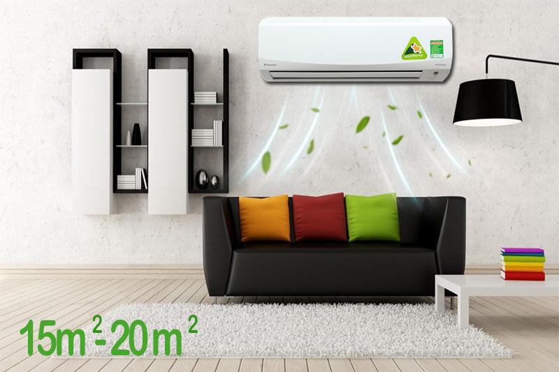 Với công suất 1.5 HP, chiếc điều hòa 2 chiều Daikin này sẽ phù hợp cho các căn phòng có diện tích từ 15 đến 20 mét vuông