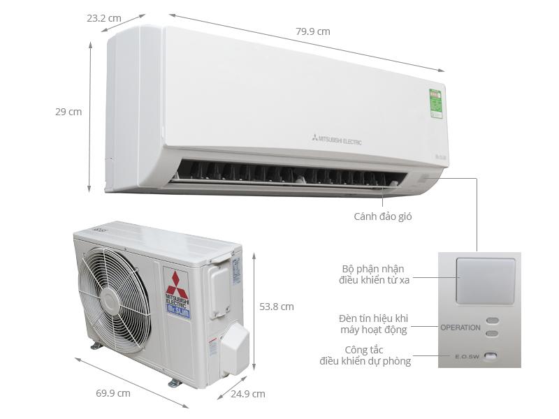 Thông số kỹ thuật Máy lạnh Mitsubishi Electric 1.5 HP MS-HL35VC