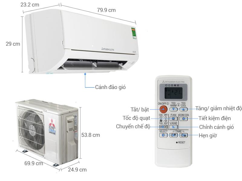 Thông số kỹ thuật Điều hòa 2 chiều Mitsubishi Electric Inverter MSZ-HL25VA