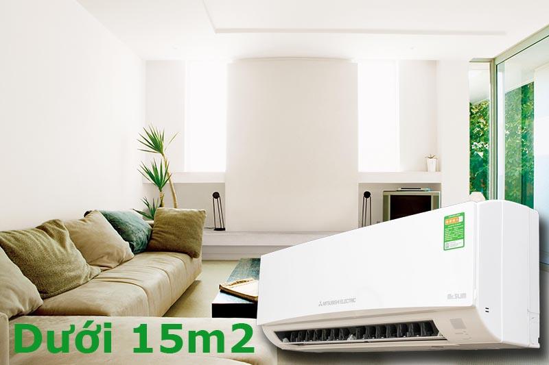 Công suất 1 HP phù hợp với không gian dưới 15 m2