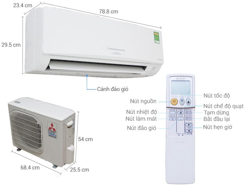 Thông số kỹ thuật Máy lạnh Mitsubishi Electric Inverter 1.5 HP MSY GH13VA