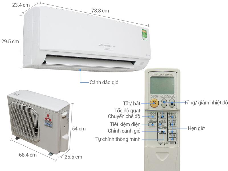 Thông số kỹ thuật Điều hòa Mitsubishi Electric Inverter 10918 BTU MSY GH13VA
