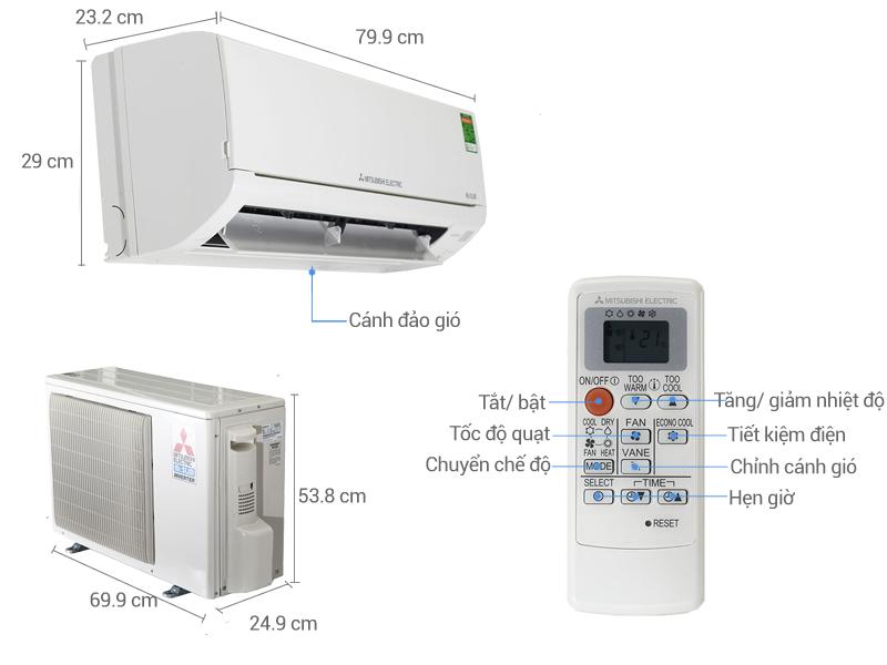 Thông số kỹ thuật Điều hòa Mitsubishi Electric Inverter 18425 BTU MSZ-HL50VA