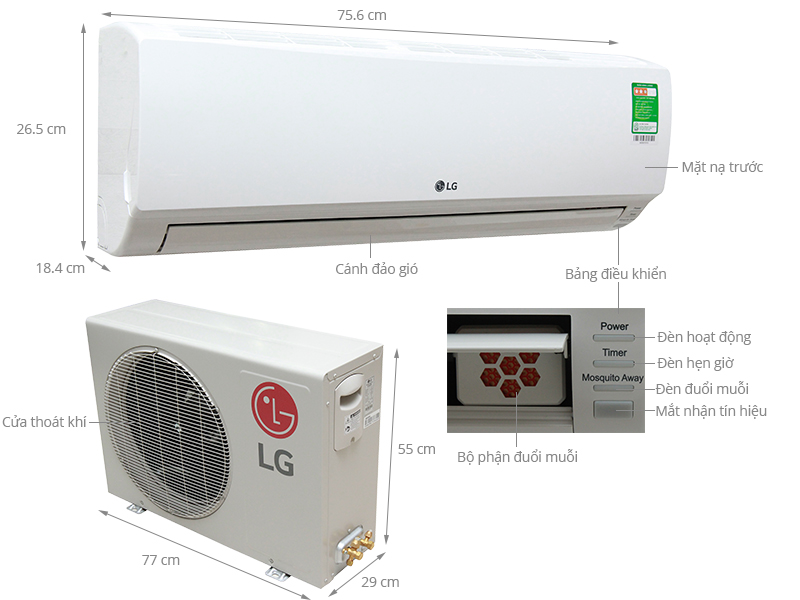 Thông số kỹ thuật Máy lạnh LG 1 HP S09ENM
