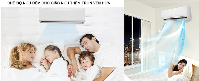 Chế độ ngủ đêm tự động điều chỉnh nhiệt độ để phù hợp với thân nhiệt