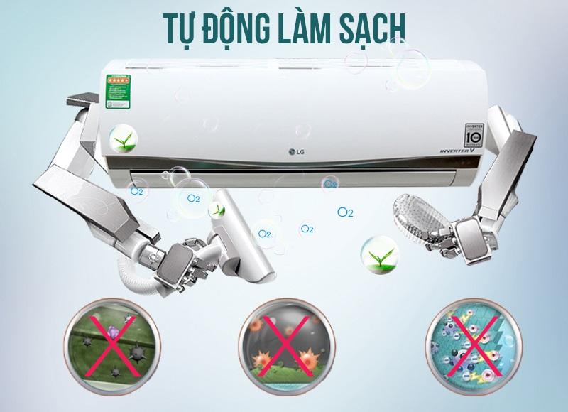 Chức năng tự làm sạch của máy lạnh LG V10APSS hạn chế tối đa sự phát triển của vi khuẩn