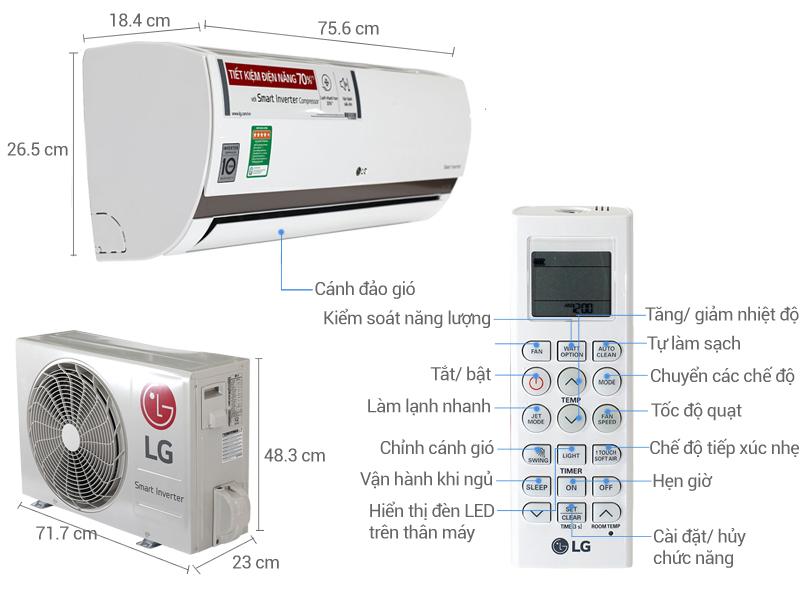 Thông số kỹ thuật Điều hòa 2 chiều LG Inverter 1 HP B10ENC