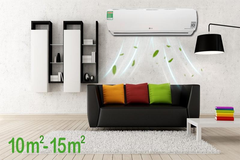 Sở hữu công suất điều hòa 1 HP, chiếc máy điều hòa 2 chiều LG này sẽ ổn định nhiệt độ tốt cho các căn phòng dưới 15 mét vuông