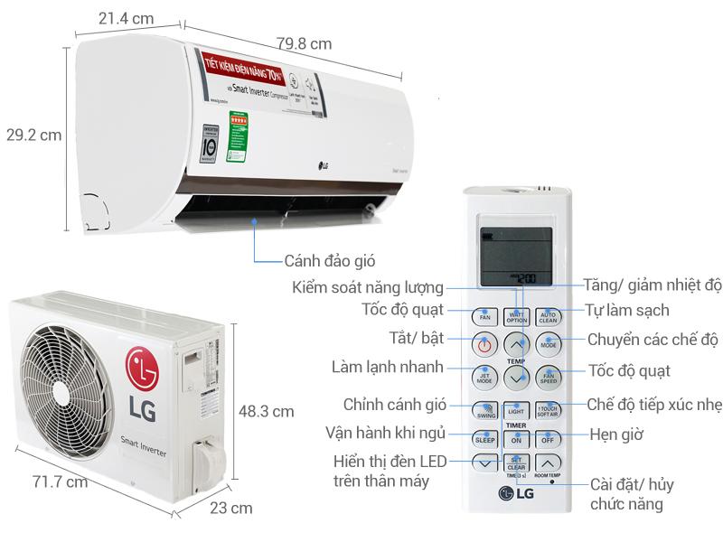 Thông số kỹ thuật Điều hòa 2 chiều LG Inverter 1.5 HP B13ENC