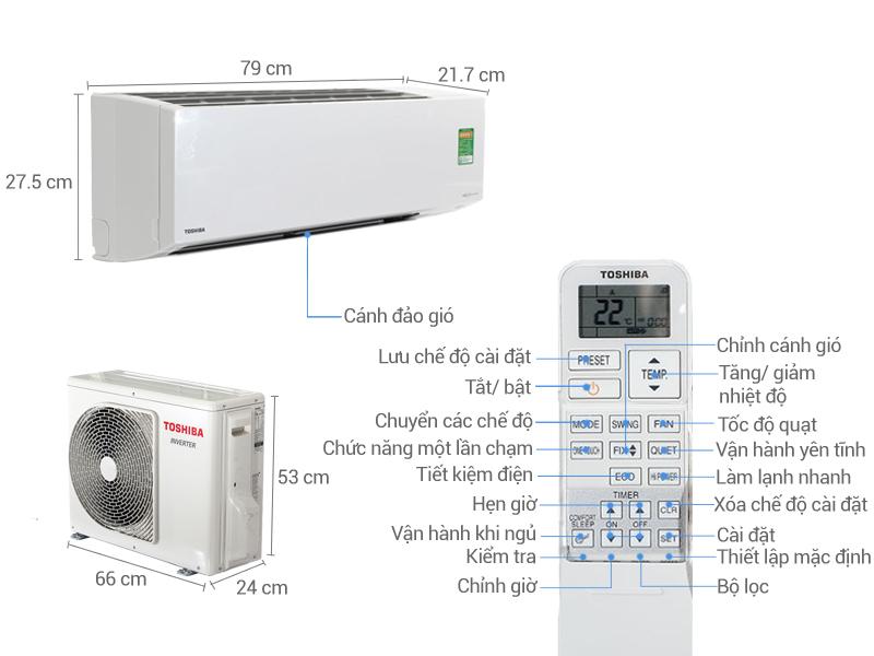 Thông số kỹ thuật Điều hòa 2 chiều Toshiba Inverter 8500 BTU RAS-H10S3KV-V