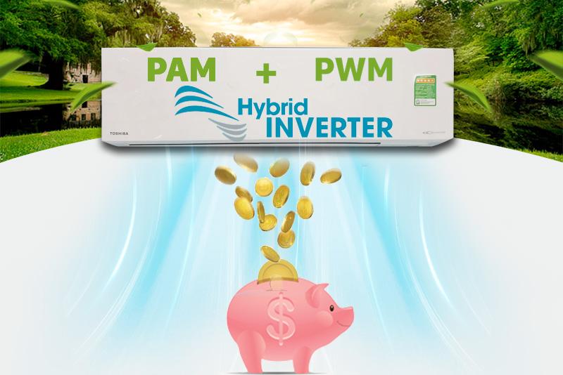 Tiết kiệm đến 50% điện năng với công nghệ Hybrid Invert