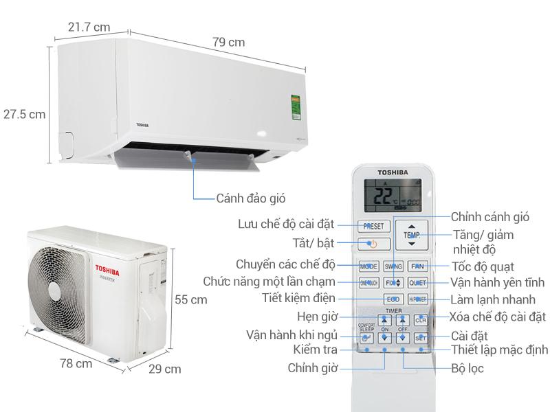 Thông số kỹ thuật Điều hòa 2 chiều Toshiba Inverter 11900 BTU RAS-H13S3KV-V