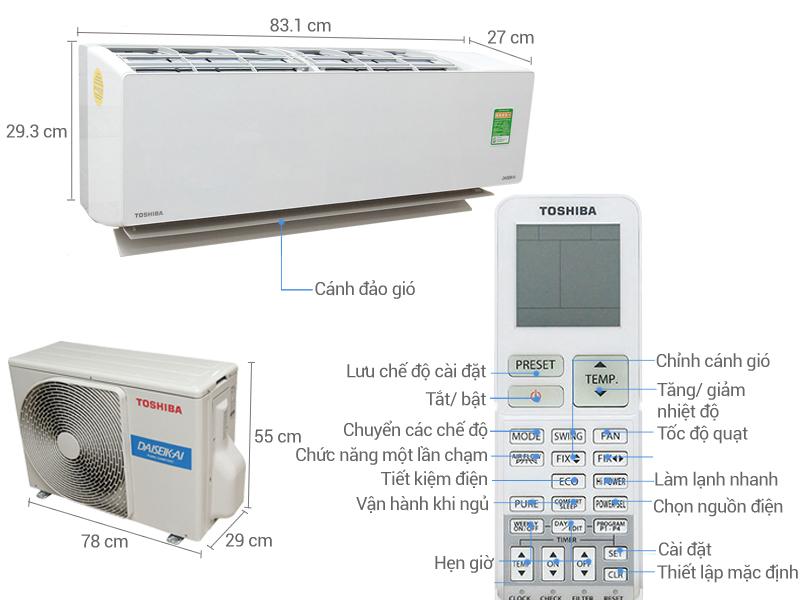 Thông số kỹ thuật Máy lạnh Toshiba Inverter 2 HP RAS-H18G2KCVP-V