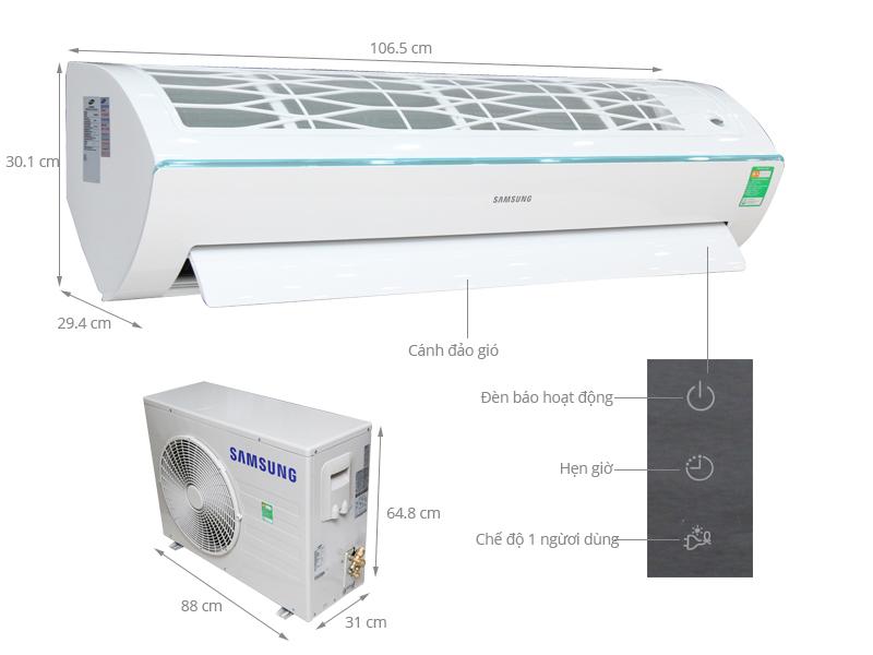 Thông số kỹ thuật Máy lạnh Samsung 2.5 HP AR24KCFSSURNSV