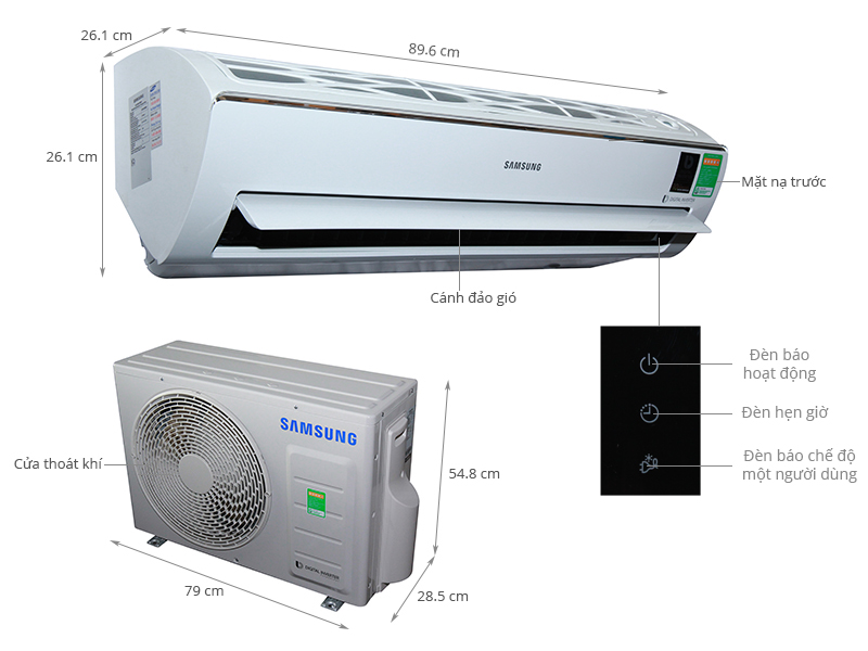 Thông số kỹ thuật Máy lạnh Samsung Inverter 2 HP AR18KVFSBWKNSV