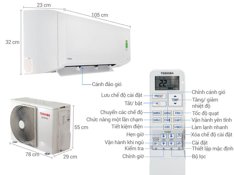 Thông số kỹ thuật Điều hòa 2 chiều Toshiba Inverter 17000 BTU RAS-H18S3KV-V