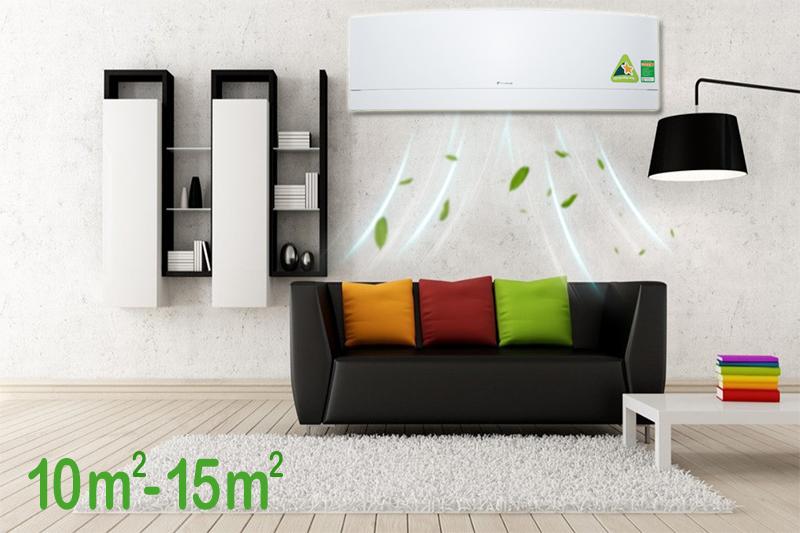 Sở hữu công suất 1 HP, chiếc máy lạnh Daikin này khá phù hợp cho những căn phòng có diện tích dưới 15 mét vuông