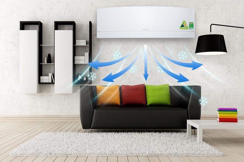 Với luồng gió 3 chiều, máy lạnh Daikin FTKJ25NVMVW còn kết hợp với khả năng đảo chiều theo phương đứng và phương ngang