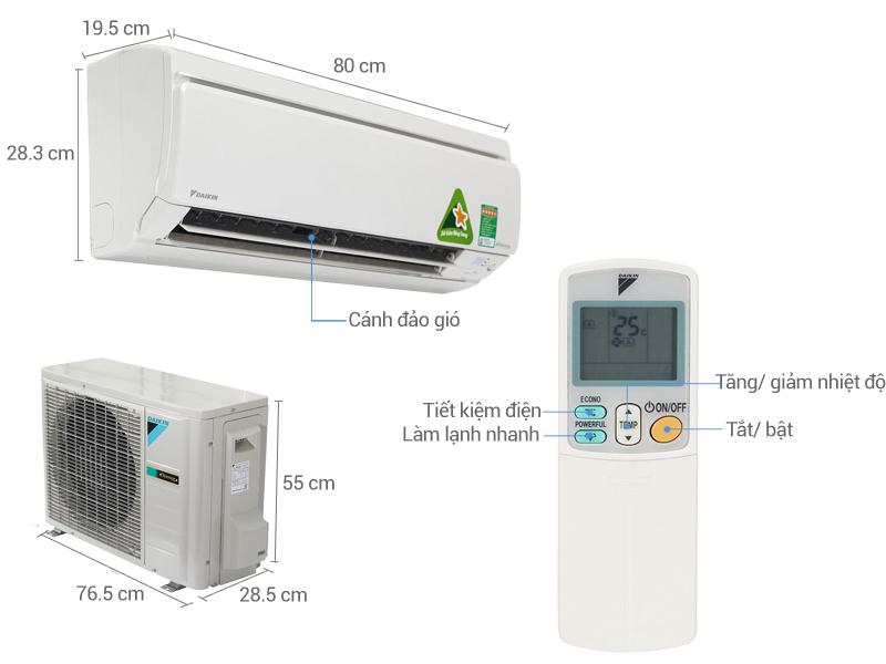 Thông số kỹ thuật Điều hòa 2 chiều Daikin Inverter 1 HP FTXS25GVMV