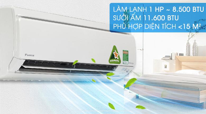 Công suất 1 HP - Điều hòa 2 chiều Daikin Inverter 1 HP FTXS25GVMV